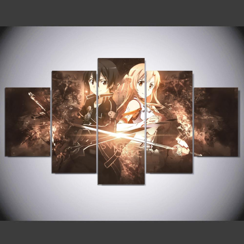 Us 15 18 5 piece canvas painting pictures cartoon anime sword art online kirito and asuna room decor print poster framed wall art yk 867 in painting