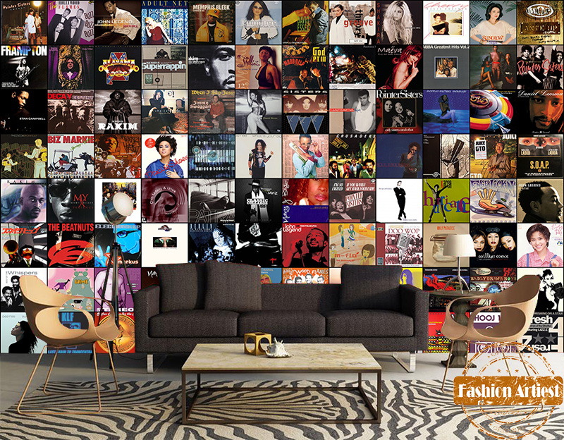 Custom vintage europe stars wallpaper mural classic CD music songs rock & roll KTV sofa bedroom living room bar restaurant cafe image