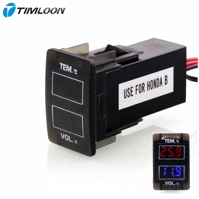 Автомобильный интерфейс 12 В в цифровой ЖК-дисплей Напряжение метр батареи монитор и автомобиль использование термометра для Honda, Civic, Spirior, CRV...