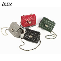 ICEV New Brands Fashion Diamond Lattice Chains Women Messenger Bags High Quality Genuine Leather Bags Ladies