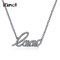 Kinel Fashion Popular Accessories Simple Romantic Style Pendant Necklace For Women Black Gun Color Inlay Zircon Wedding Jewelry