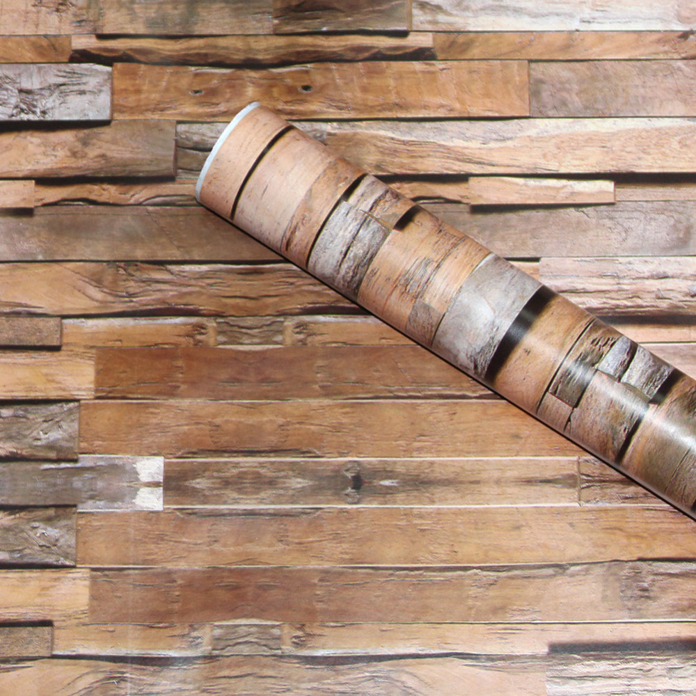 HaokHome 3d Rustic Peel Stick Wallpaper Wood Plank Brown/Grey/Black Self Adhesive Wall Sticker Contact Paper Living Room bedroom