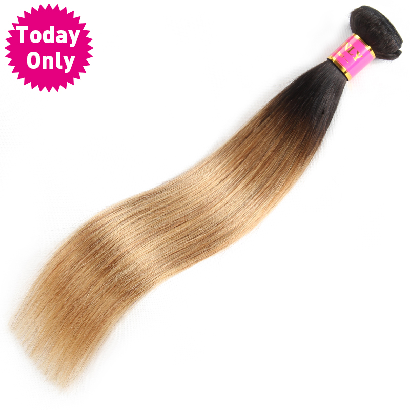 [TODAY ONLY] Blonde Brazilian Straight Hair Weave Bundles Ombre Human Hair Bundles Two T ...