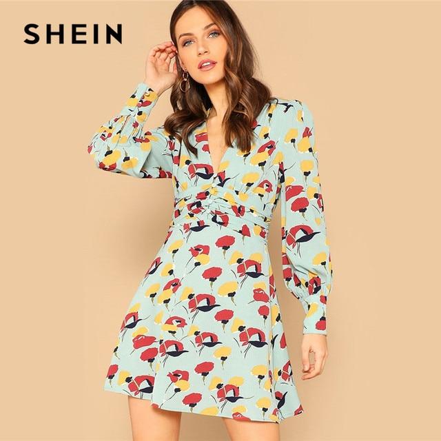 173fd8772ec SHEIN Button Front Deep V Neck Floral Print Mini Dress Beach Vacation  Bishop Sleeve Dresses 2019 Women Sexy A Line Dress