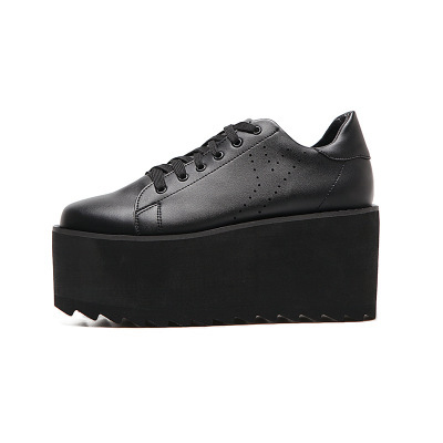 Spring New Classics White Casual Pumps Shoes Woman Cool Black Platform Shoes Height-Increasing Lace-Up Ladies High Wedges Shoes