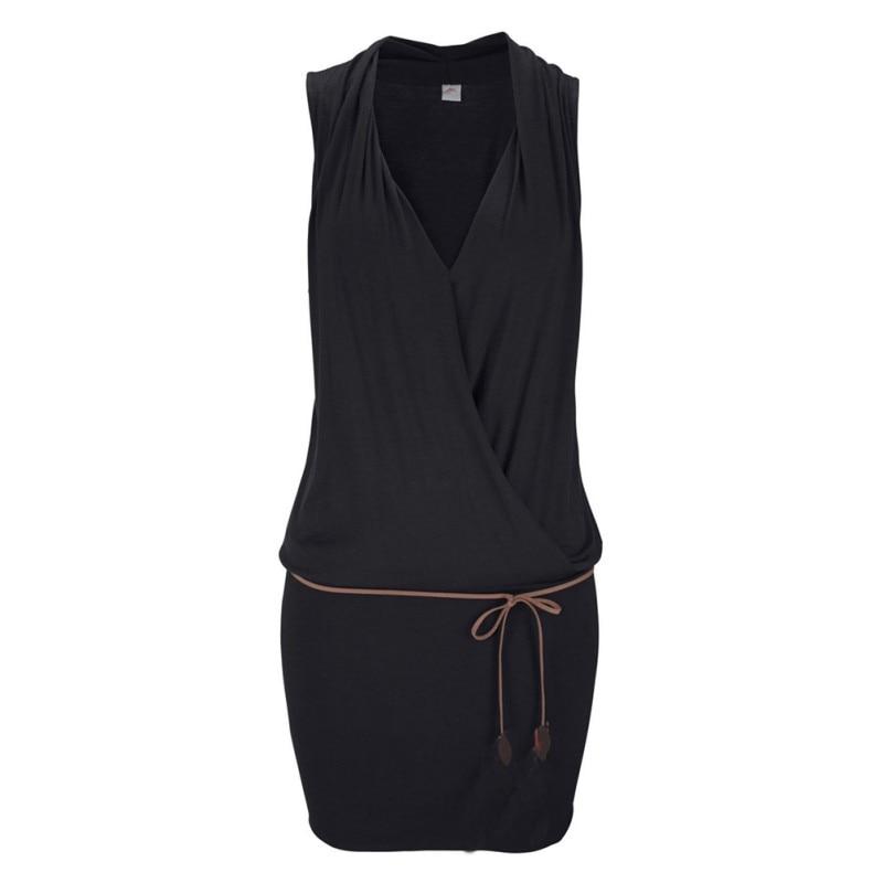 Women Clothes Women Sexy Deep V-neck Sleeveless Mini Dress Summer Beach Dress with Belt 7