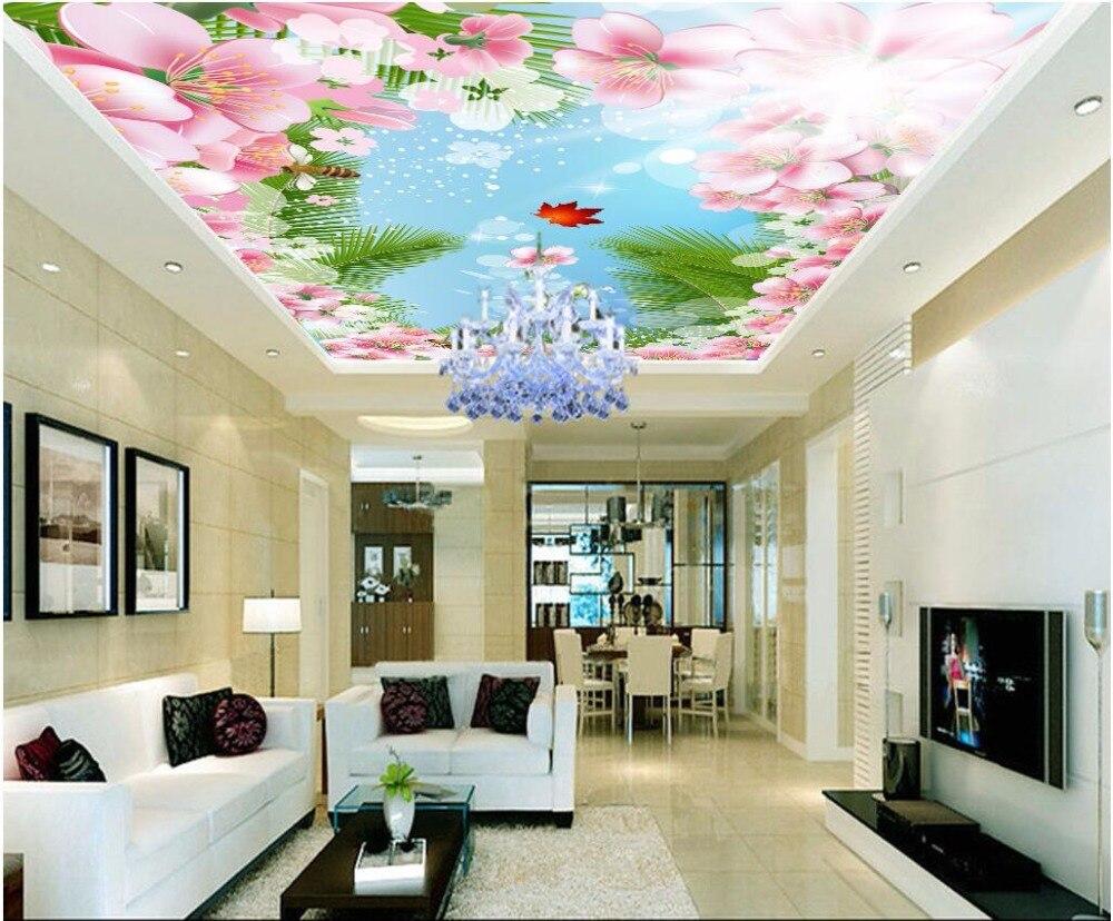 Custom photo 3d ceiling murals wallpaper Cartoon blue sky flower bee picture painting 3d wall murals wallpaper for walls 3d blue sky чаша северный олень