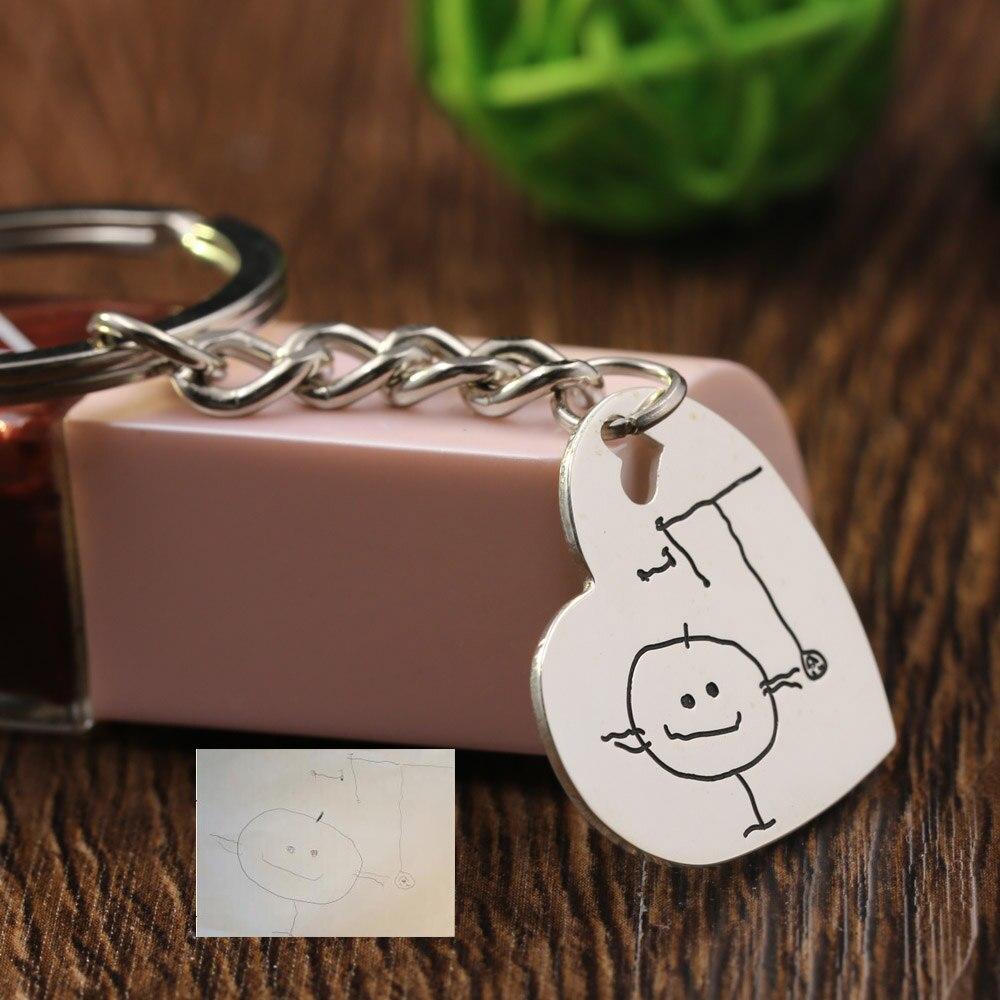 Porte-clés en argent massif pendentif en forme de coeur en argent porte-clés personnalisé pour mère père cadeau de noël