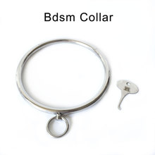 лучшая цена bdsm collar sex toys for couple stainless steel metal neck lock Slave adult game fetish erotic toys with key ring bondage collar