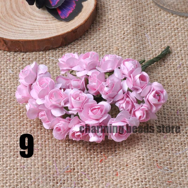 24 шт. 15 мм мини искусственный Бумага розы букет Свадебный декор Скрапбукинг DIY cp0022x - Цвет: 9
