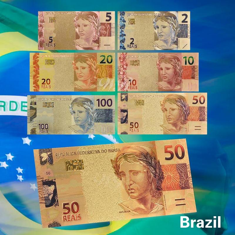 6Pcs / Set Color Brasil Reais Set Coloured 2 10 50 Reals Gold - Decoración del hogar