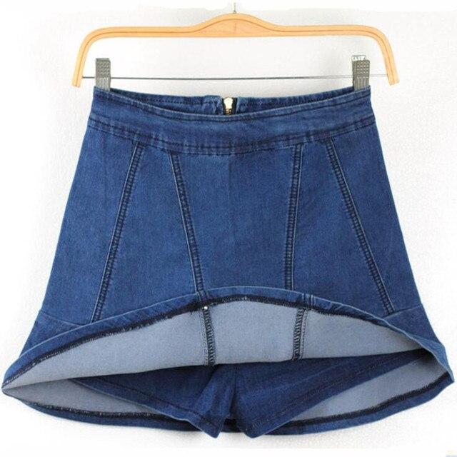 Новинка одежда женщины урожай короткие юбки дамы высокая талия оборками джинсовые шорты юбки женские летние джинсы шорты