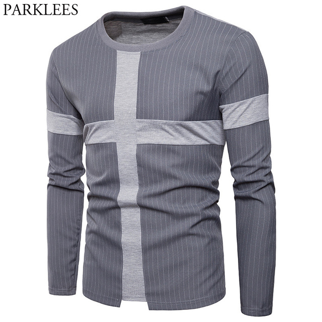 21a6aa54abcc Mens Slim Fit Long Sleeve Crew Neck T-shirt 2018 Summer New Vertical  Striped Shirt