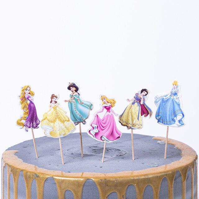 24 unids/pack decoración de la torta del cumpleaños de la fiesta con los palillos los favores de los niños Sofia Frozen unicornio tema Baby Shower Cupcake Topper Set