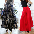 New Summer thin slim fluid wide leg pants female trousers fancy plus size wide-leg pants feet straight casual boot cut