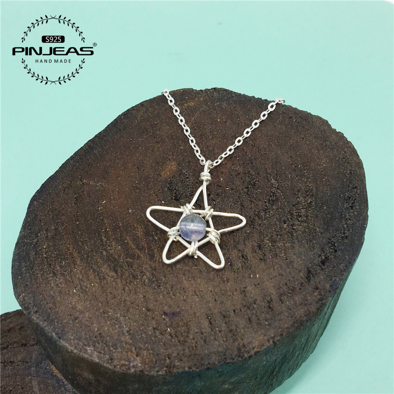 PINJEAS 925 Rainbow Moonstone Necklace Crystal Stone handmade star Pendant Necklace with Chain Jewelry