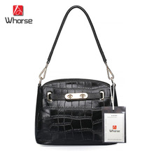 [WHORSE] Brand Logo New Crocodile Bag Ladies Designer Women Genuine Leather Handbag Casual Shoulder Crossbody Messenger Bags