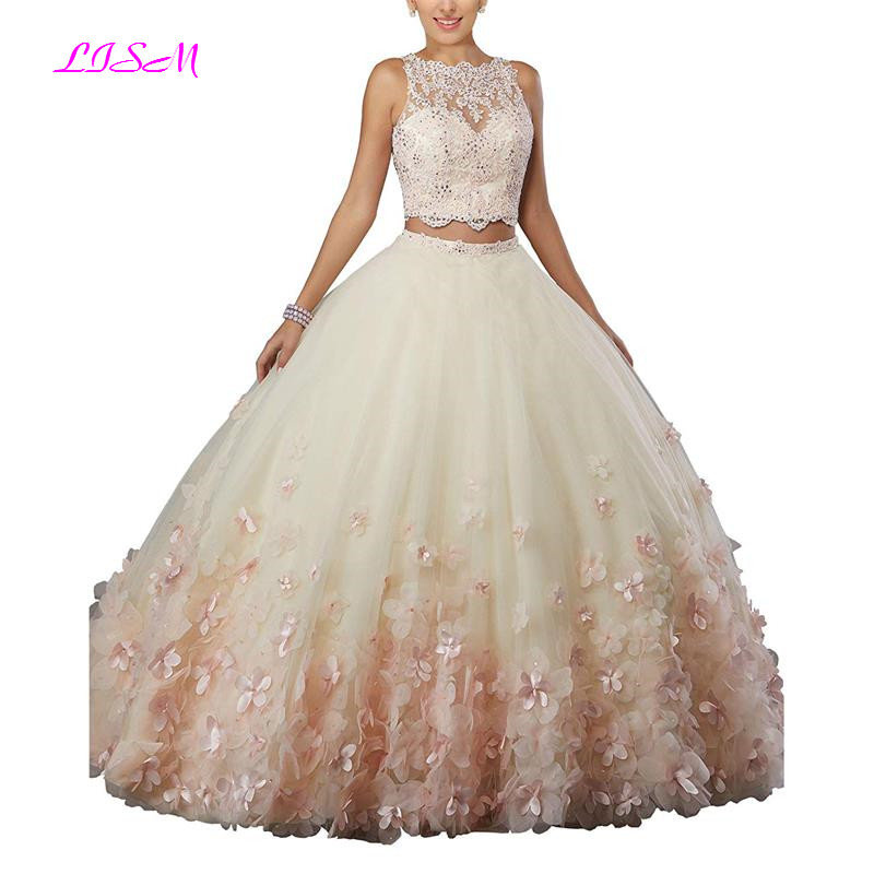 Image 4 - Sweet vestido debutante Ball Gown Two Pieces Organza Quinceanera Dress O neck Long 3D Flowers Sweet 16 Dress Vestidos De 15 Anos-in Quinceanera Dresses from Weddings & Events