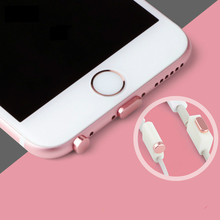New style Common Mobile Phone Aluminum + PU Dust Plug Set for iPhone SE 6S Headphone Anti Jack Crown Dust Plug Phone Accessories