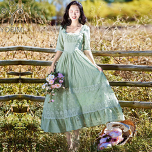 YOSIMI 2018 Summer Vintage Cotton and Lace Long Women Dress