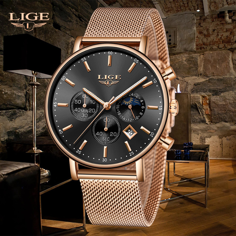 Relogio LIGE New Top Brand Fashion Luxury Gold Mesh Band Creative WristWatch Casual Fashion Watch Quartz Clock Gift Watch Men