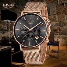 купить Relogio LIGE New Top Brand Fashion Luxury Gold Mesh Band Creative WristWatch Casual Fashion Watch Quartz Clock Gift Watch Men по цене 1368.62 рублей