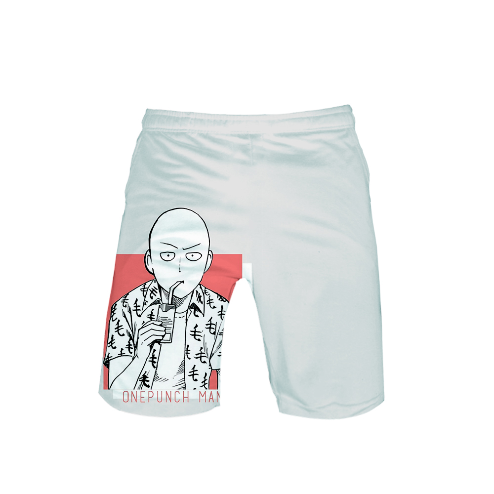 White One Punch Man Back Shorts Saitama drinks
