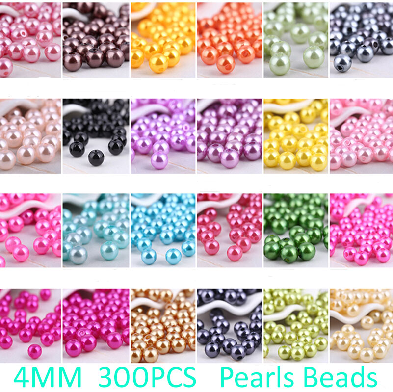 Necklace Jewelry Beads-Making Imitation Pearl Handmade Round Plastic ABS 300pcs 4mm 26-Colors