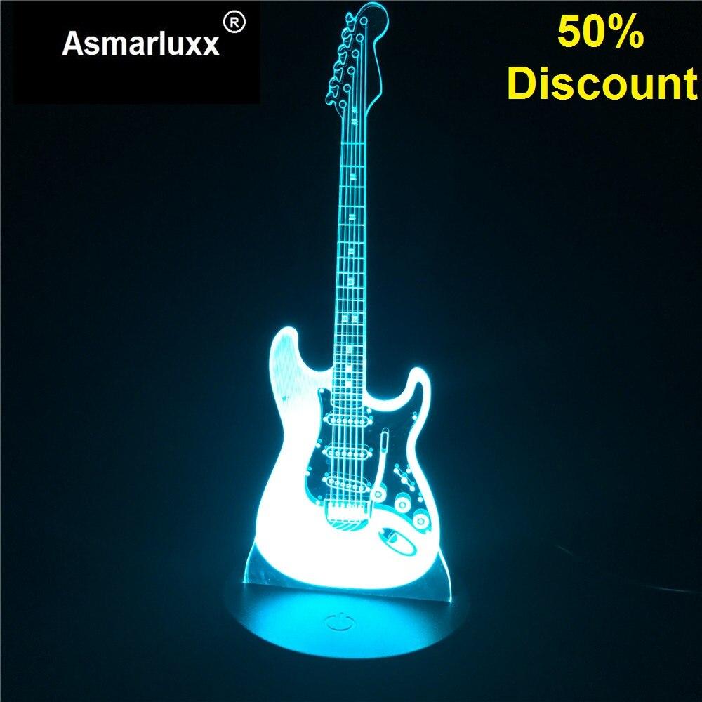 Guitare modèle Illusion 3D nuit lampe 3D lumière électrique LED 7 couleur changeante USB tactile capteur bureau lumière Budget 50% réduction