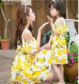 Hija de la madre vestidos de limón coincidencia de madre e hija ropa de gasa vestido de playa de la familia de madre e hija ropa a juego
