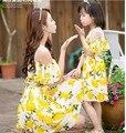 Mãe e filha vestidos de limão combinando roupas filha da mãe chiffon vestido de praia da família de mãe e filha roupas combinando