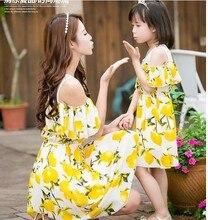Мать дочь платья лимон соответствия мать дочь одежда шифон мама и дочь платье пляж семьи сопоставления одежда