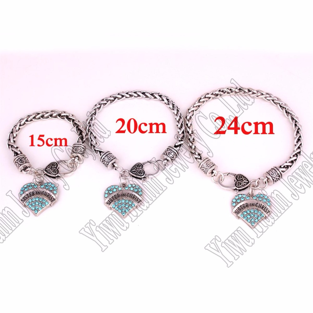 Three Kinds Of Length A Set Studded With Crystals Sister In Christ Heart Pendant Bracelet Link Chain Bracelets From Jewelry Accessories On