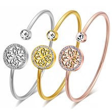 hot deal buy classic stainless steel open cuff bracelets & bangles for women silver/gold/rose gold bangles jewelry gift