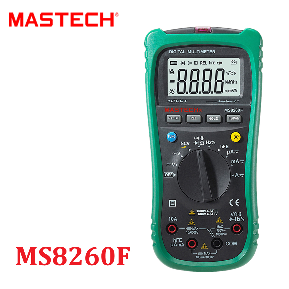 Auto Range Digital Multimeter DMM Frequency Capacitor NCV hFE multi tester comprobadores multimetros multimetre MASTECH MS8260F  цены