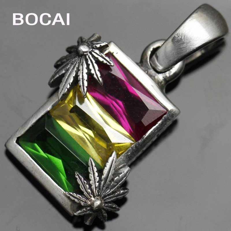S925 sterling silver red / yellow / green three-color stone hemp pendant Thai silver men and women fashion pendantS925 sterling silver red / yellow / green three-color stone hemp pendant Thai silver men and women fashion pendant