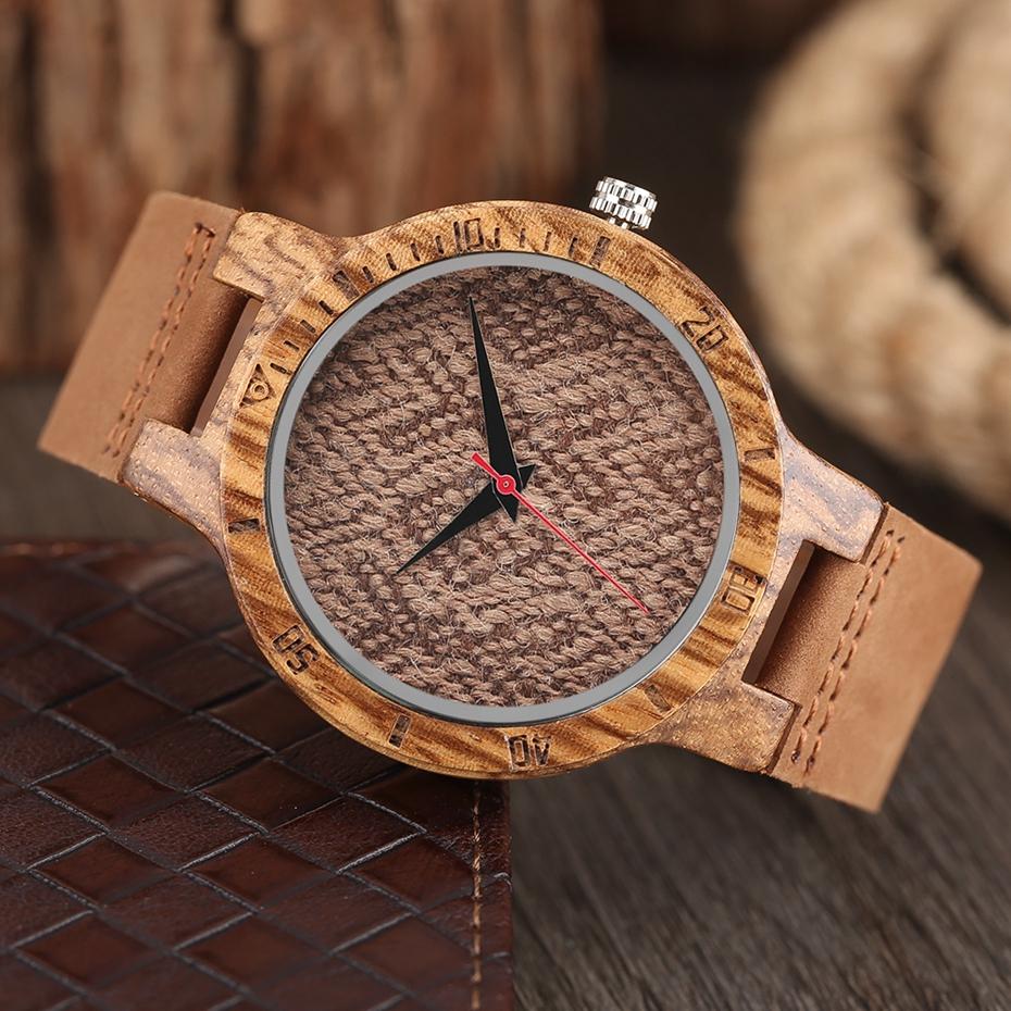 Unique Stripes Lines Dial Wooden Watch Mens Bamboo Creative Quartz Clock Genuine Leather Bangle Reloj de madera 2017 New Fashion  (44)