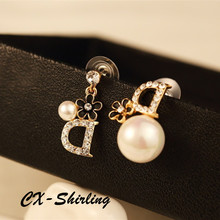 CX-Shirling Real Picture New Luxury Fashion Real Rose Gold Crystal Pearl D Letter Flower Earring Women High Quality Earring