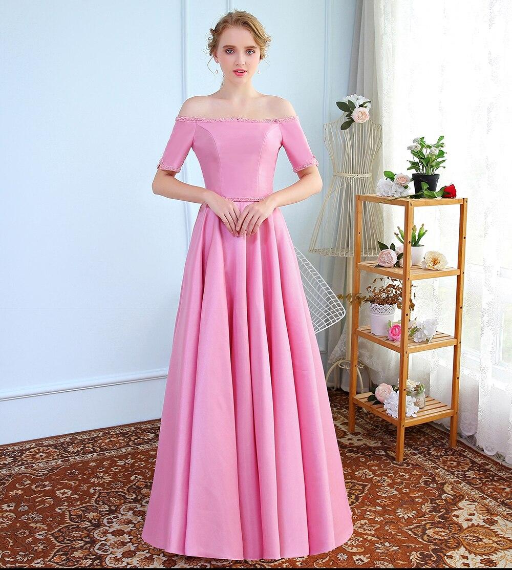 SSYFashion de lujo Simple vestido de noche de satén Rosa barco ...