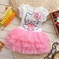 2016 del verano del bebé vestido de las muchachas del hello kitty kt de dibujos animados alas tutú vestidos niños princesa vestidos roupas infantis menina ropa