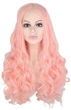 Qqxcaiw ручной работы волосяного покрова бесклеевого кружева спереди парик для женщин розовый длинные вьющиеся жаропрочных волокна синтетические волосы парики