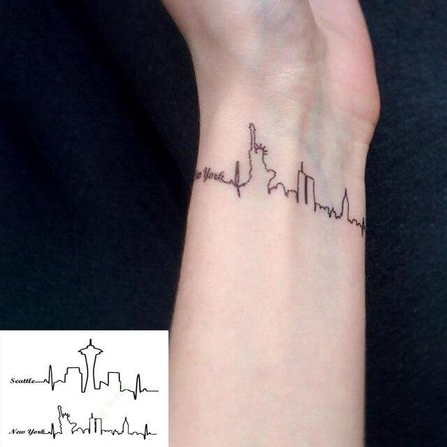Impermeabile Autoadesivo Del Tatuaggio Temporaneo Seattle New York