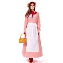 Umorden Red Floral Colonial Pioneer Costume for Women Teen Girls Farm Prairie Dress Cosplay Halloween Party Carnival Costumes