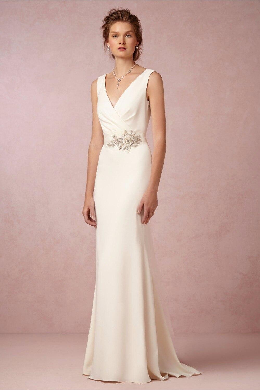 2017 Elegant Cowl Neck and Back Floor Length Sheath Wedding Dresses ...