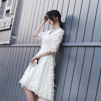 Vivian's Bridal Summer Tiered Tassel Banquet Evening Dress White Feathers V neck Ankle length High Low Girl Homecoming Dress