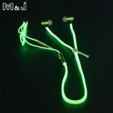 뜨거운 판매! M & J 빛나는 이어폰 아이폰에 대 한 어둠 속에서 빛나는 빛 금속 지퍼 이어폰 마이크와 삼성 Xiaomi MP3