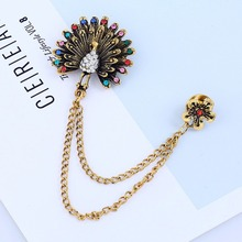 цена на Vintage Colored Crystal Peacock Brooches For Women Chain Tassel Animal Brooch Pins Suit Sweater Jewelry Accessories