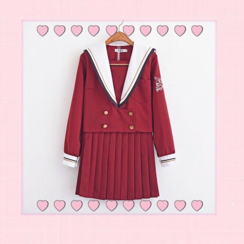 Collège Style japonais filles JK uniforme costume étudiants école à manches longues hauts + jupe plissée ensemble marine vent marin costume uniformes
