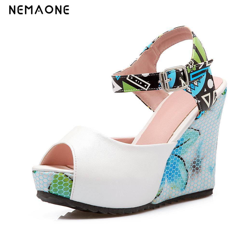 2017 New Women Sweet Buckle peep Toe Wedges Sandals Women's Platform Sandals Fashion Summer Shoes Women Casual Shoes High-heeled european fashion glass crystal live room book room door handles amber white indoor lock mechanical handle lock bearing lock body