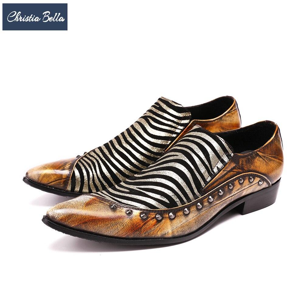 Gran Bella Pie Naranja Cebra Hombres Boda Pisos Tamaño Italiano Hombre Dedo De Los Del Vestir Zapatos Cuero Patrón Christia Genuino TgxBndwqvB